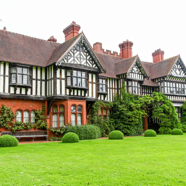 """Wightwick Manor Victorian manor house located at Wightwick Bank"" stock image"
