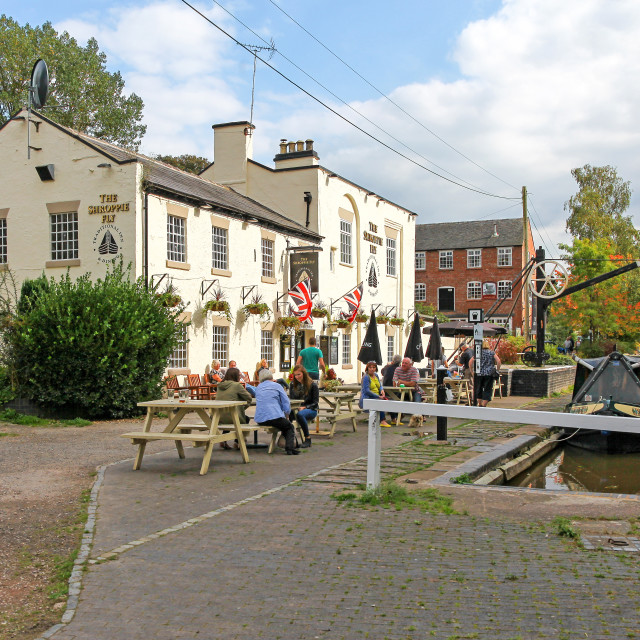 """The Shropshire Fly public house or pub Audlem Cheshire England U"" stock image"