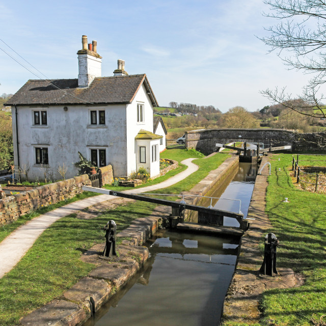 """The top lock of a flight of three locks called Hazelhurst locks"" stock image"