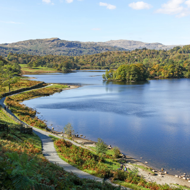 """Rydal Water in the English Lake District National Park Cumbria E"" stock image"