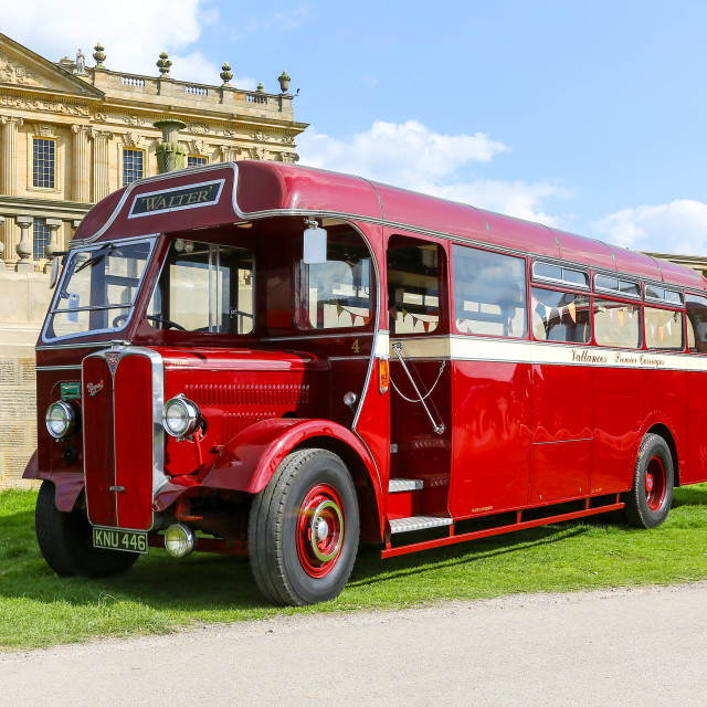 """A 1946 AEC Regal bus or coach in the livery of Vallances Coaches"" stock image"