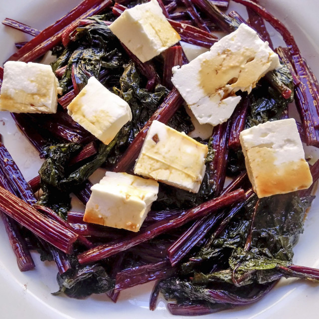 """""""Stir Fried Beetroot Leaves with Feta Cheese and Soya Sauce"""" stock image"""