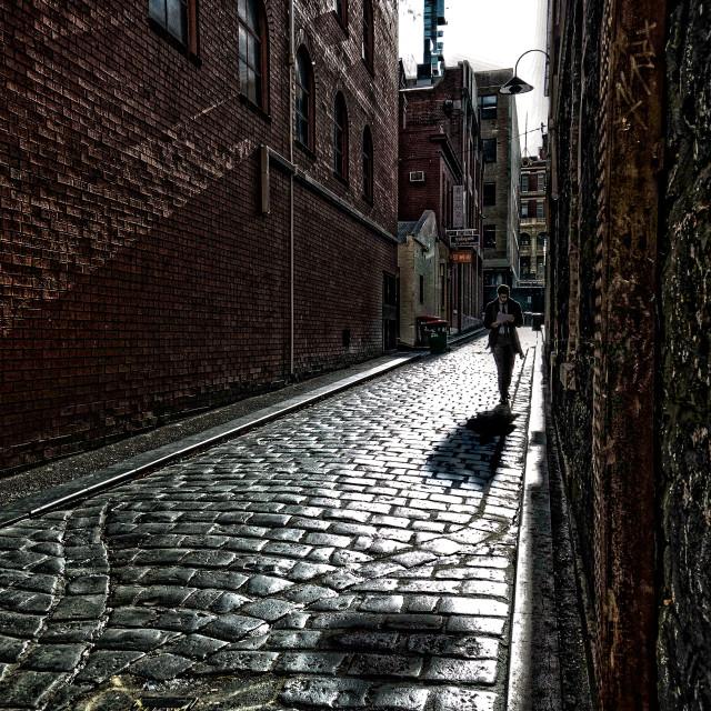 """""""Man in alley. Melbourne, Victoria, Australia"""" stock image"""