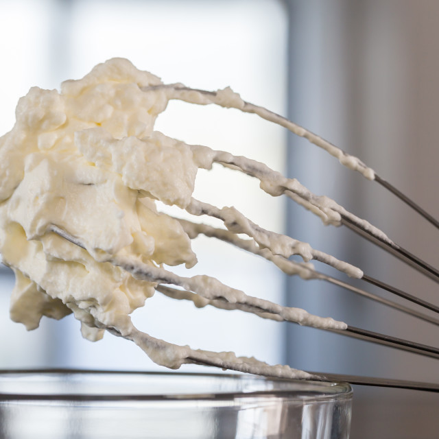"""""""Cream on a whisk macro concept"""" stock image"""