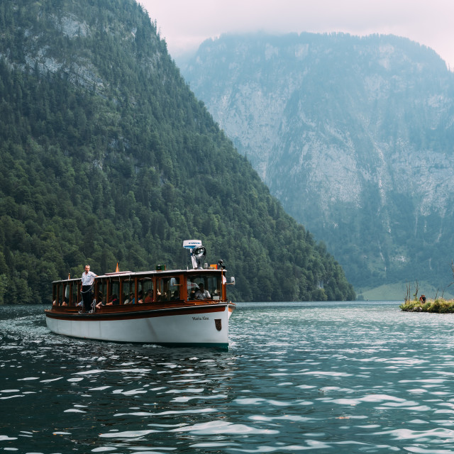 """""""Scenic view of boat moored to pier"""" stock image"""