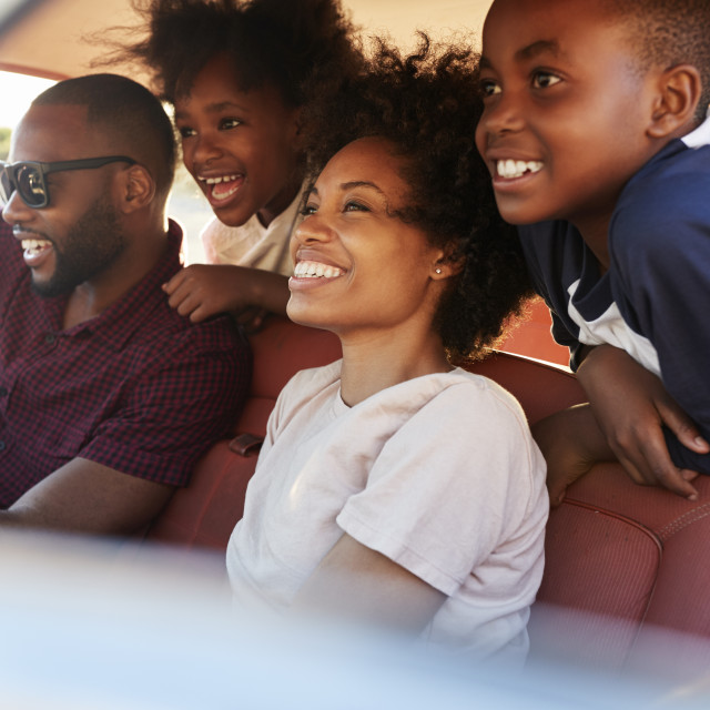 """""""Family Relaxing In Car During Road Trip"""" stock image"""