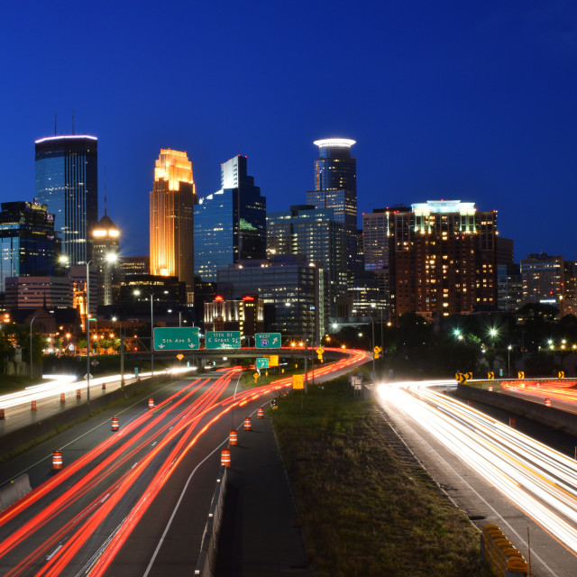 """Minneapolis Skyline with Light Trails"" stock image"