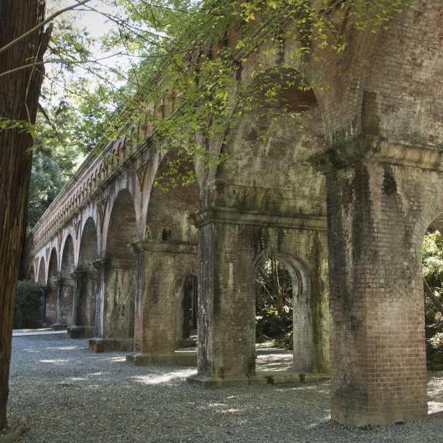 """Ancient Japanese Aqueduct; Kyoto, Japan"" stock image"