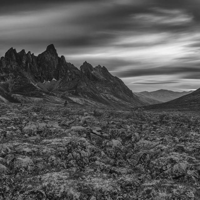 """""""Black And White Image Of The Tombstone Valley In Tombstone Territorial Park,..."""" stock image"""