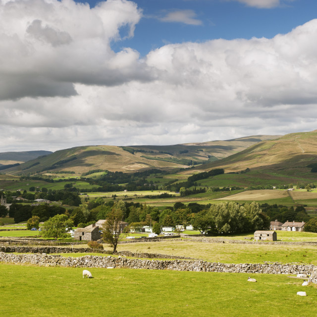 """""""Upper Wensleydale Looking Over Hawes From Burtersett; North Yorkshire, England"""" stock image"""