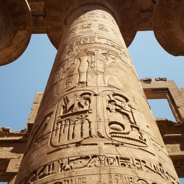 """Carved Column, Great Hypostyle Hall, Karnak Temple; Luxor, Egypt"" stock image"