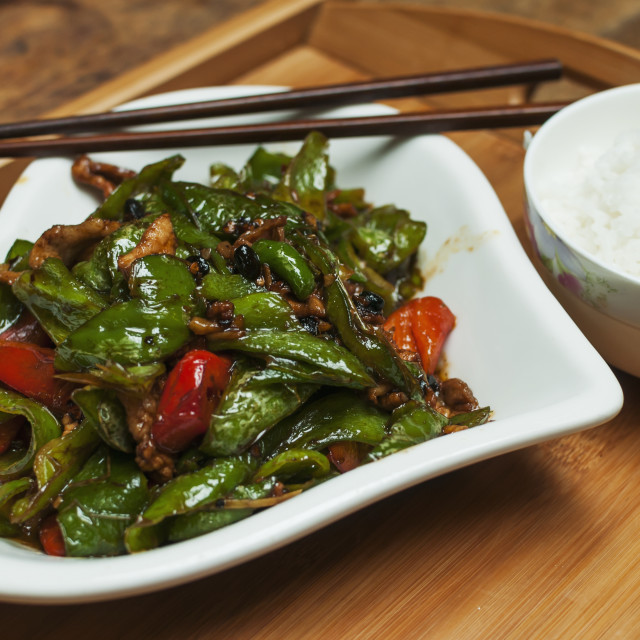 """""""Typical Chinese Green Pepper And Pork Called Huiguorou; Wuhan, Hubei..."""" stock image"""