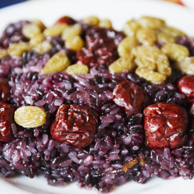 """""""Glutinous Rice With Berries And Raisins Served At The Behai Hotel, Mount..."""" stock image"""
