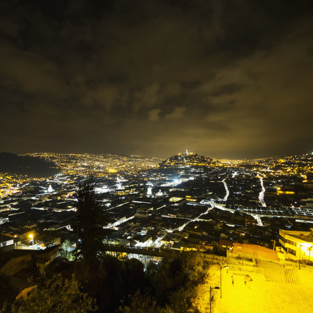 """Aerial View Of Quito By Night From Restaurante Mirador El Ventanal, Quito,..."" stock image"
