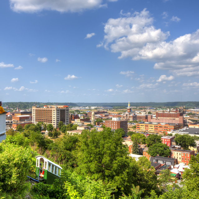 """""""Scenic View Of Downtown Dubuque And The Fenelon Place Elevator; Dubuque,..."""" stock image"""
