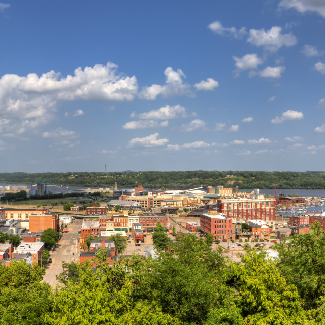 """""""Panoramic View Of Downtown Dubuque And The Mississippi River From The Fenelon..."""" stock image"""
