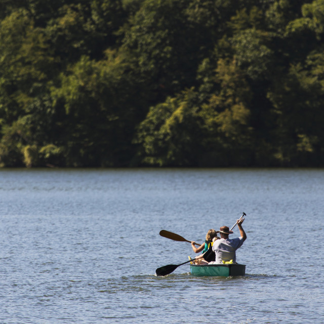 """Family Canoeing On Lake Macbride At Lake Macbride State Park, Near Solon;..."" stock image"