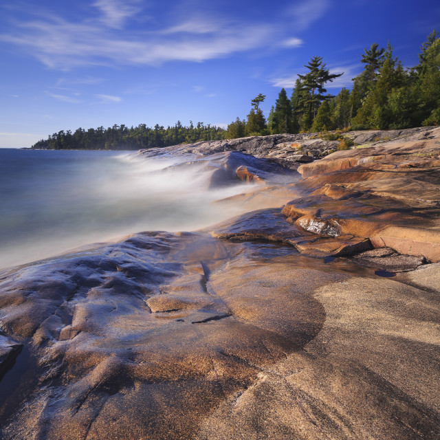 """Rocky Shoreline Of Lake Superior At Katherine Cove, Lake Superior Provincial..."" stock image"