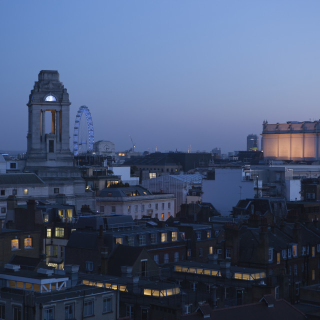 """""""Rooftops Of Covent Garden Seen From Newton Street, With The London Eye And..."""" stock image"""