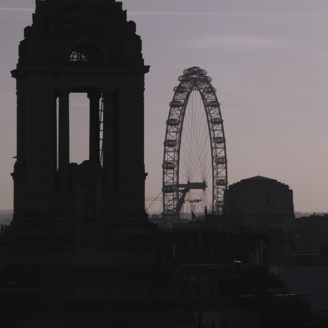 """""""Freemason's Hall And The London Eye Seen In Silhouette Above The Rooftops Of..."""" stock image"""