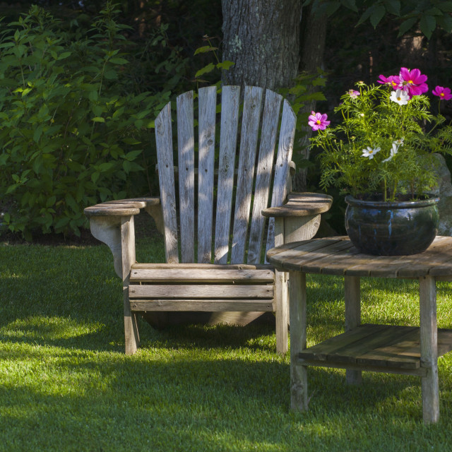 """""""Adirondack Chair And Flower Pot; Knowlton, Quebec, Canada"""" stock image"""