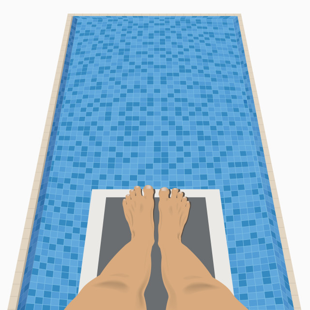 """""""Feet On A Diving Board Above A Swimming Pool"""" stock image"""