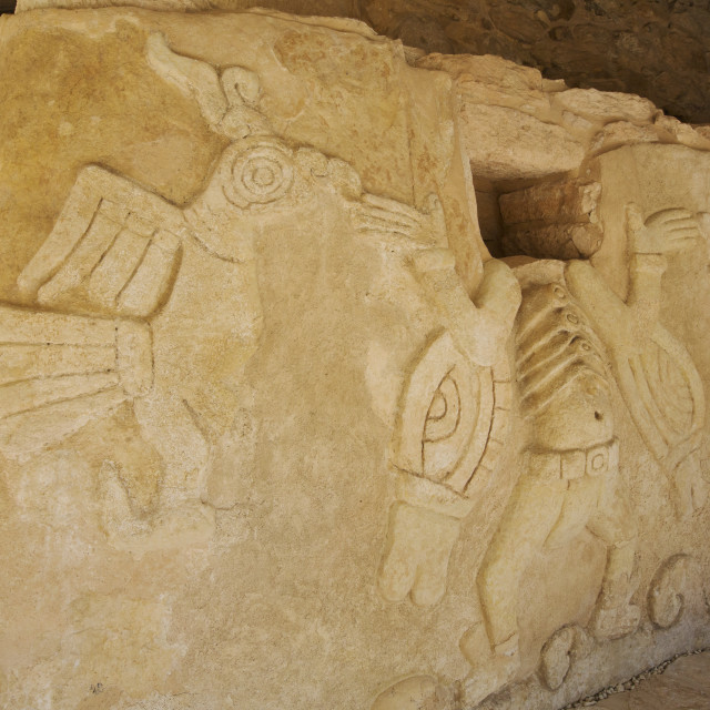 """Figures Of Stucco Relief, Skeletal Heads Found In The Niches, Castillo De..."" stock image"