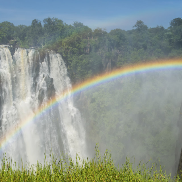 """Victoria Falls With Rainbow; Livingstone, Zambia"" stock image"