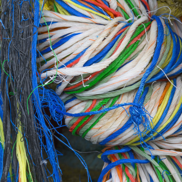 """Detail Of Colorful Commercial Fishing Gear, Nets, And Line In Kodiak,..."" stock image"