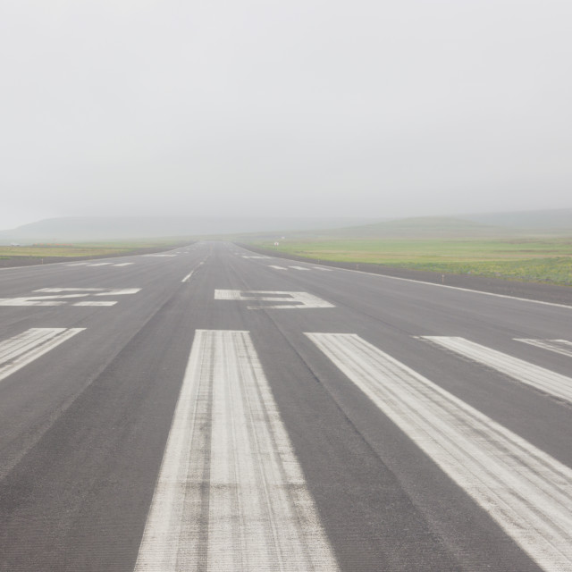 """""""View Down The Runway Of The St. Paul Airport On A Misty Afternoon, St. Paul..."""" stock image"""