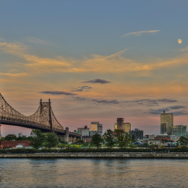 """""""Moonrise Over Queensboro (59th Street) Bridge And The Citibank Building;..."""" stock image"""