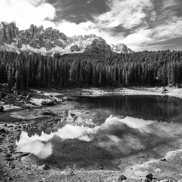 """Carezza Lake B/W"" stock image"