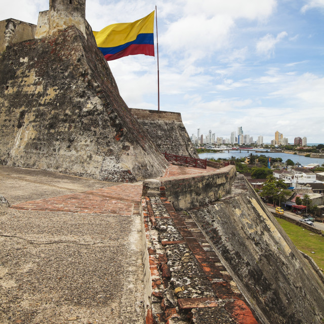 """Castillo San Felipe De Barajas And Colombian Flag With Cartagena New City In..."" stock image"