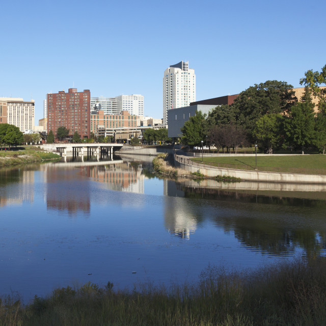 """""""Rochester Skyline With Flood Controls Where South Fork Of Zumbro River Meets..."""" stock image"""