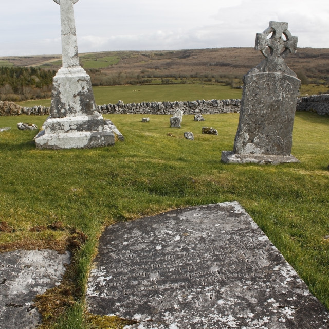 """Graves In Church Cemetery; Carran, County Clare Ireland"" stock image"