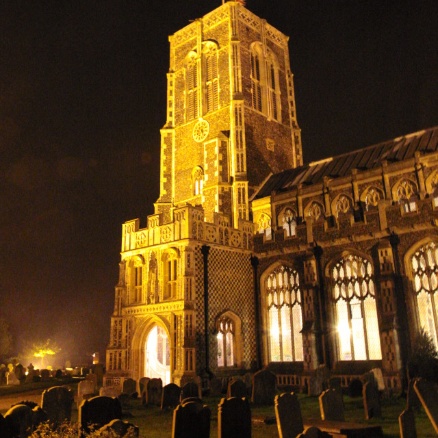 """Church at night"" stock image"