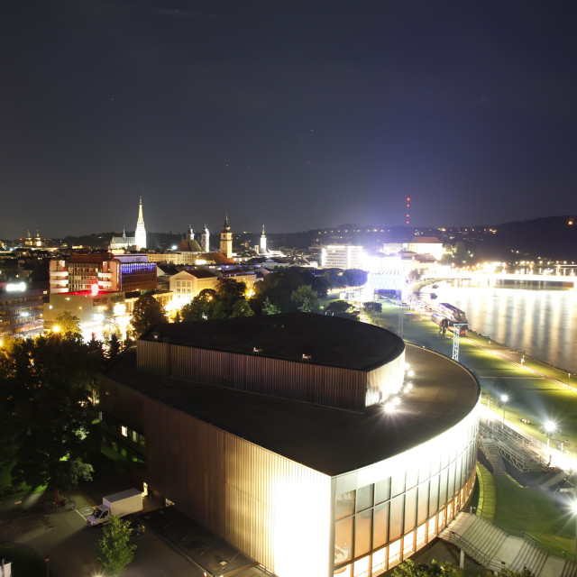 """Linz by night"" stock image"