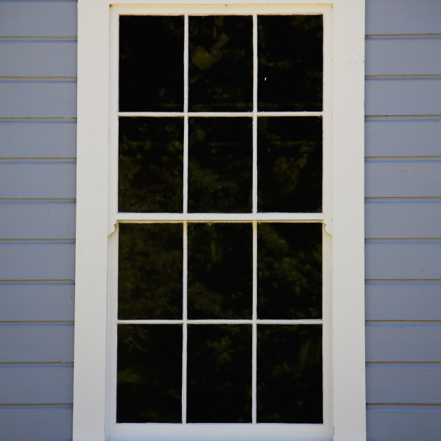 """""""A Window With White Trim; Ladner, British Columbia, Canada"""" stock image"""