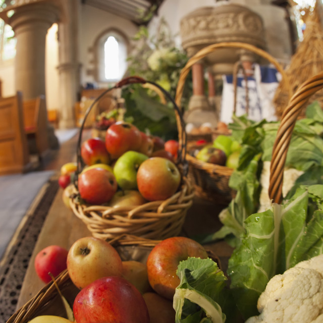 """""""Fresh Food On Display On A Table For Harvest Festival; Kelso, Scottish..."""" stock image"""
