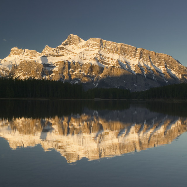 """""""Two Jack Lake And Mount Rundle, Banff National Park, Alberta, Canada"""" stock image"""