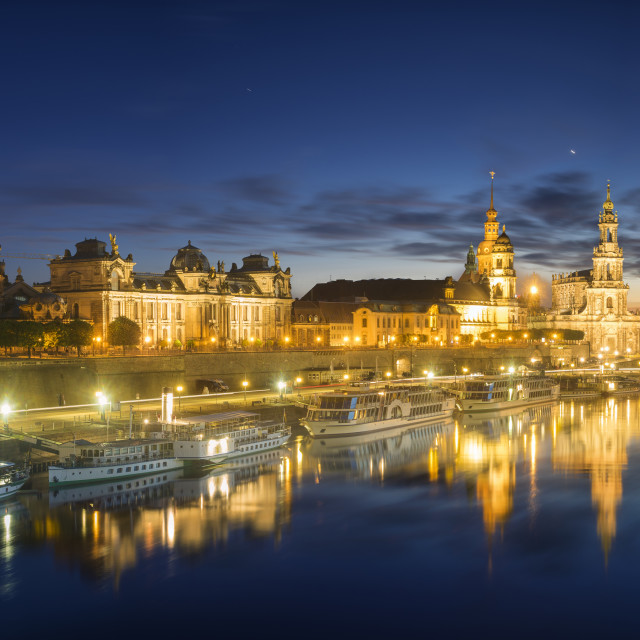 """evening panorama of Dresden"" stock image"