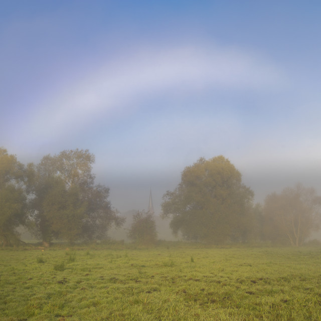 """""""natural phenomenon - white rainbow over a meadow on a foggy morn"""" stock image"""