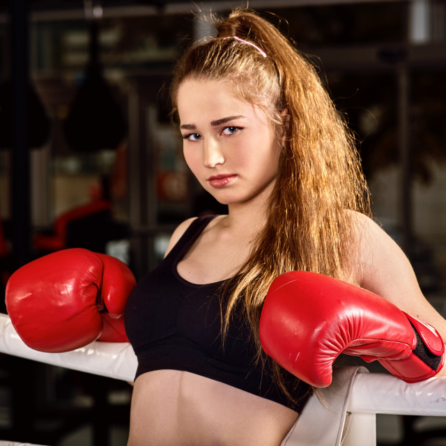 """Boxing workout woman in fitness class."" stock image"