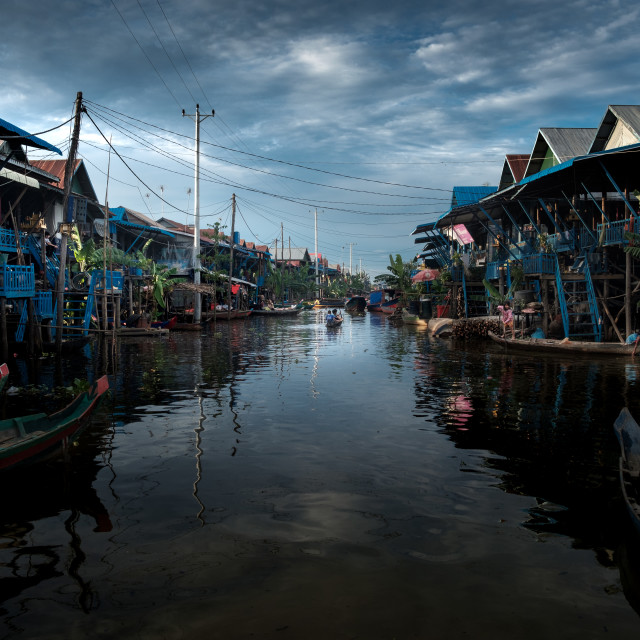 """Flooded Village in Cambodia"" stock image"