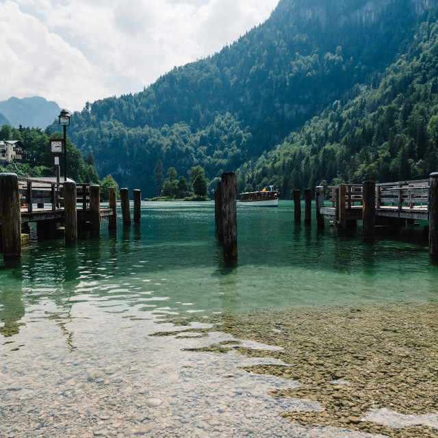 """""""Pier in Konigssee lake a sunny summer day"""" stock image"""