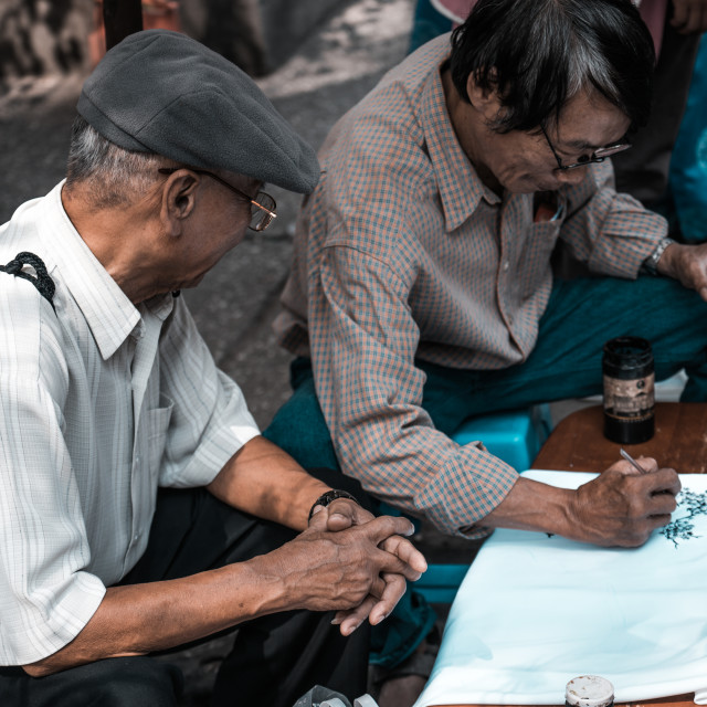 """Drawing painting on Lunar New Year in Vietnam"" stock image"