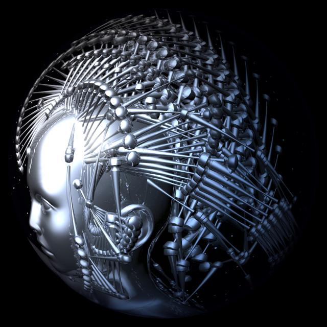 """Digital 3D Illustration of a Cyborg Head"" stock image"