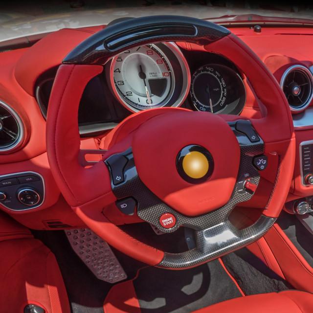 """Italian sportscar interior"" stock image"