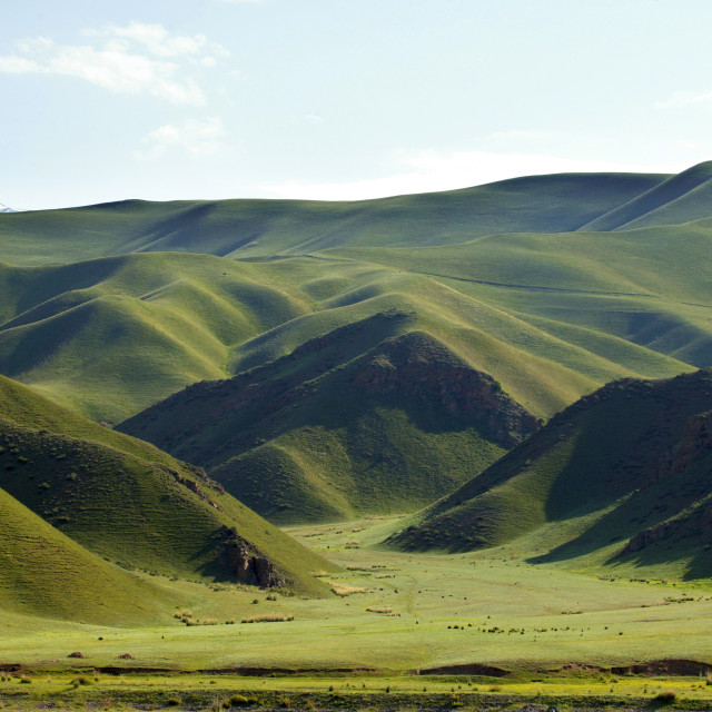 """Rolling Green Hills, Kyrgyzstan"" stock image"