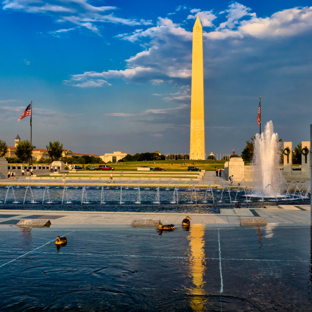 """Washington Memorial from WWII Memorial"" stock image"